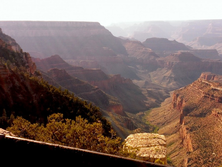 The afternoon sun streaming into the Grand Canyon