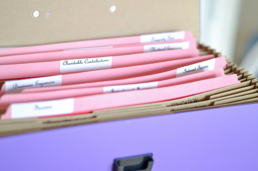 Tax Box with Red Folders