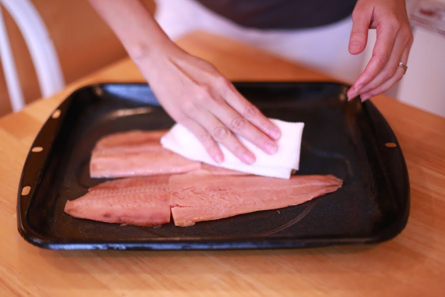 Easy Salmon with Creamy Dill Sauce - Simple Kitchen Series - by Abby Sasscer | Salmon Fillets in Baking Dish, Pat Dry