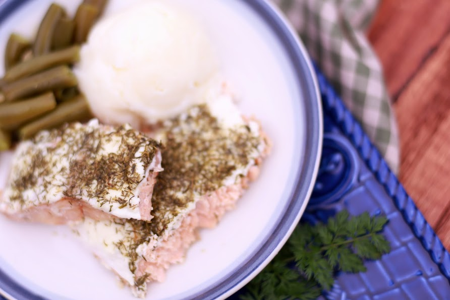 Easy Salmon with Creamy Dill Sauce - Simple Kitchen Series - by Abby Sasscer | Salmon with Veges on the Plate